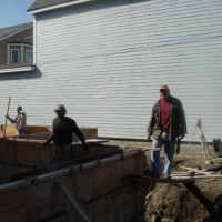 The foundation is being built for the 2012 Habitat Blitz that Cambridge,MA architect Thomas Downer is participating in.