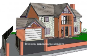 3D Design Rendering of the Redesign by Lancashire Architectural Consultant Chris Sinkinson of Homeplan Designs.