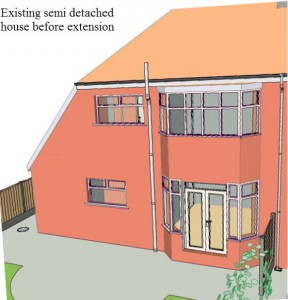 existing semi Detached house before 2 storey extension