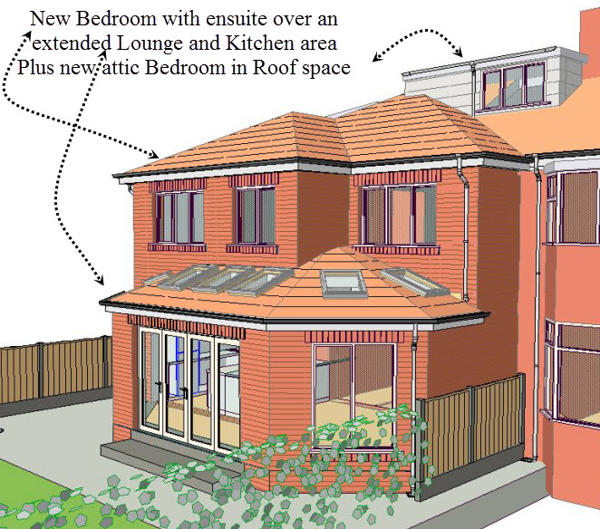 2 bedroom with ensuite over kitchen lounge extension plus for Marketing for architects and designers